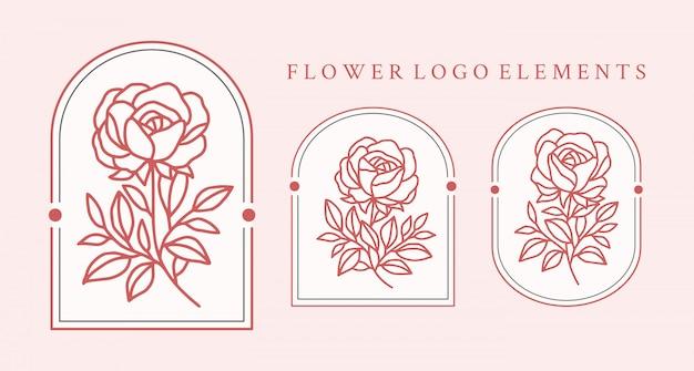 Hand gezeichnete rosenblumenlogoelement-sammlung