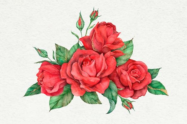 Hand gezeichnete rote rosenblume des vektors