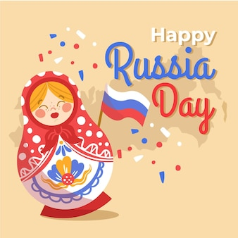 Hand gezeichnete russland-tagesillustration
