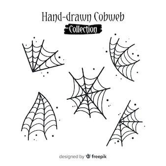 Hand gezeichnete sammlung halloween-spinnennetze