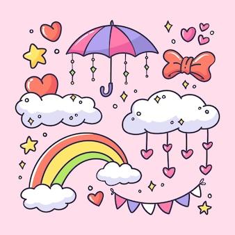 Hand gezeichnete sammlung von chuva de amor-elementen