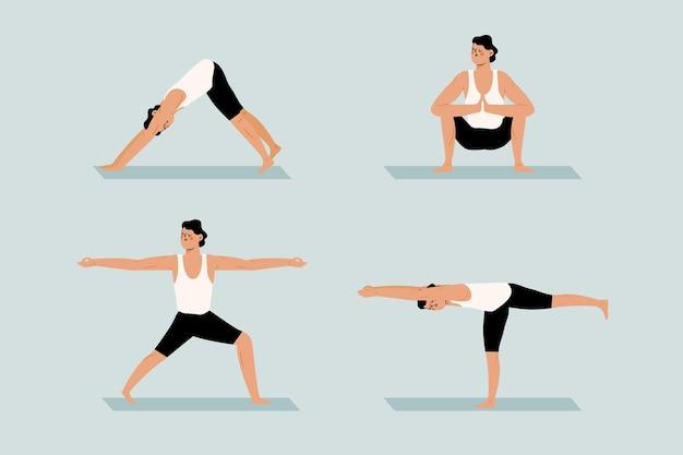 Hand gezeichnete sammlung von menschen, die yoga tun