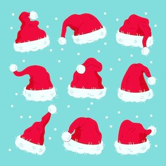 Hand gezeichnete santa claus hüte packen