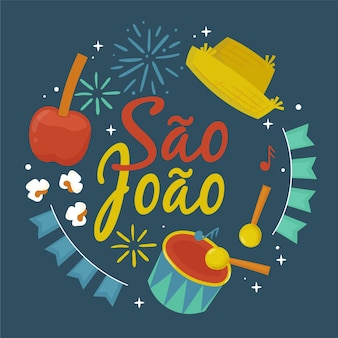 Hand gezeichnete sao joao illustration