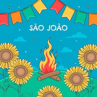 Hand gezeichnete sao joao illustration