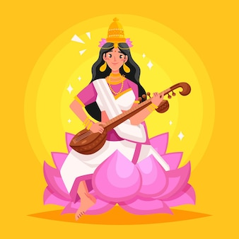 Hand gezeichnete saraswati-illustration