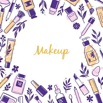 Hand gezeichnete schablone mit make-up-schönheitskosmetik