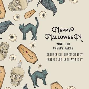 Hand gezeichnete schädel, kerze, katzensarg, rabe und augen hintergrundmusterkarte. halloween-feier-gruß-skizzen-party-einladung oder cover-vorlage