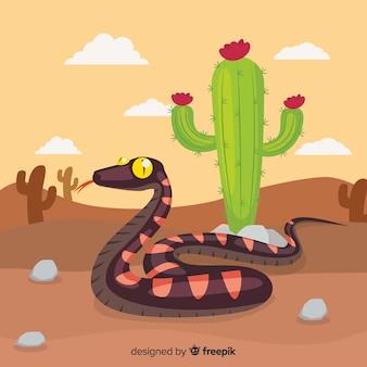 Hand gezeichnete schlange am wüstenhintergrund
