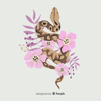 Hand gezeichnete schlange mit blumenhintergrund