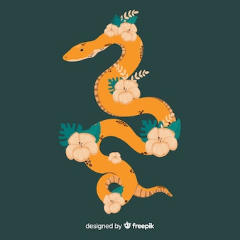 Hand gezeichnete schlange mit blumenillustration