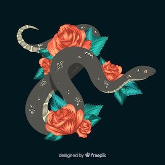 Hand gezeichnete schlange mit rosenhintergrund