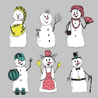 Hand gezeichnete schneemann-zeichensammlung