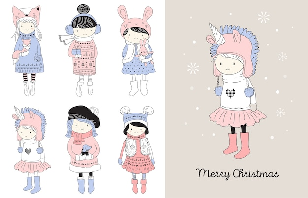 Hand gezeichnete schöne süße kleine wintermädchensammlung. frohe weihnachten grußkarten