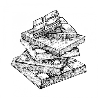 Hand gezeichnete schokoladenpyramide. schokoriegel in stücke gebrochen, appetitlich realistische zeichnung. illustration der schokoriegel