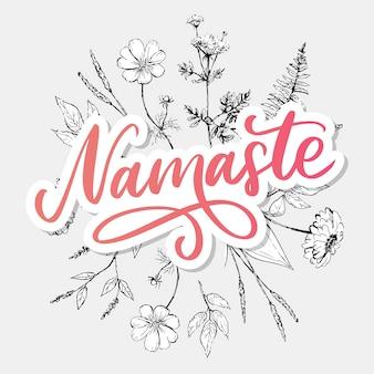 Hand gezeichnete schrift namaste karte. hallo in hindi. tintenillustration. positives zitat. moderne pinselkalligraphie.