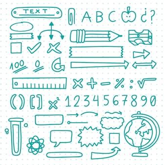 Hand gezeichnete schule infografik elemente gesetzt