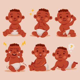 Hand gezeichnete schwarze babysammlung