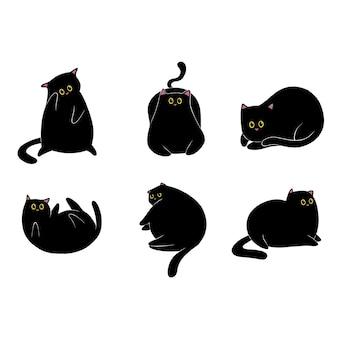 Hand gezeichnete schwarze katzensammlung
