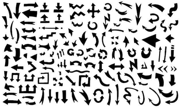 Hand gezeichnete schwarze pfeile gesetzt. handgemachter gekritzelstil der modernen skizzenpfeilsammlung