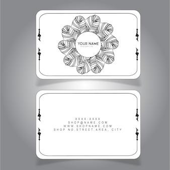 Hand gezeichnete schwarzweiss-feder-visitenkarte