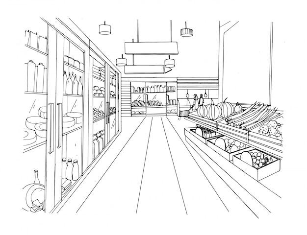 Hand gezeichnete schwarzweiss-illustration des supermarktinnenraums. lebensmittelmarkt.