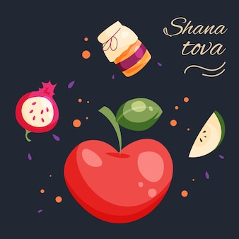 Hand gezeichnete shana tova mit honig und apfel