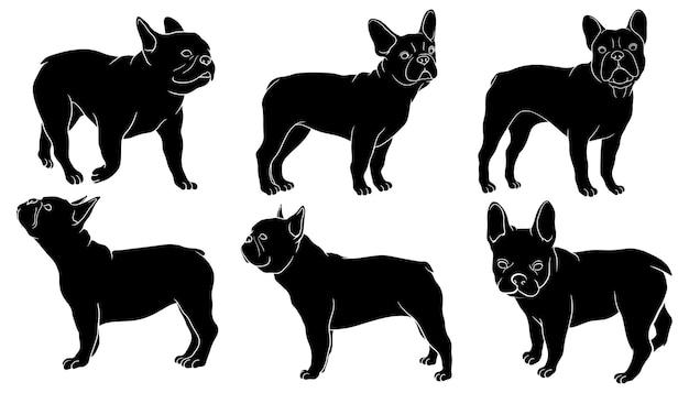 Hand gezeichnete silhouette der französischen bulldogge