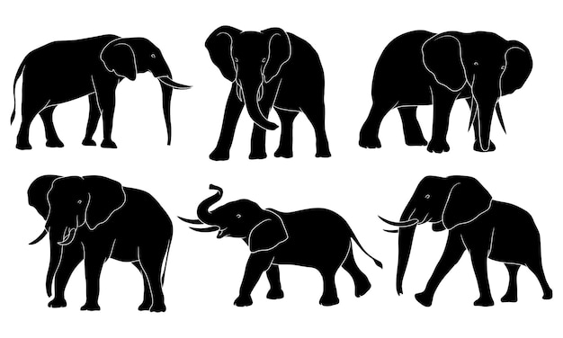 Hand gezeichnete silhouette des elefanten