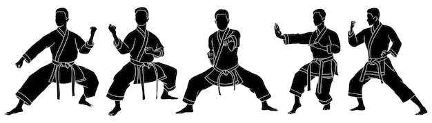 Hand gezeichnete silhouette des männlichen karateka