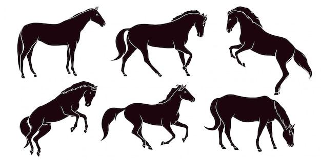 Hand gezeichnete silhouette des pferdes
