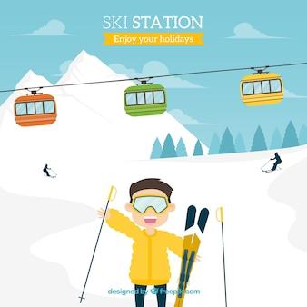Hand gezeichnete skistation
