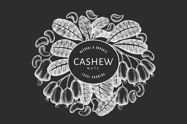 Hand gezeichnete skizze cashew banner vorlage