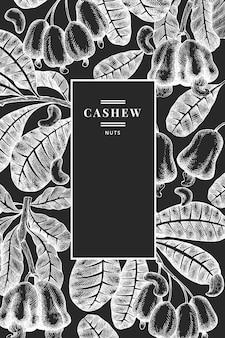 Hand gezeichnete skizze cashew design vorlage.