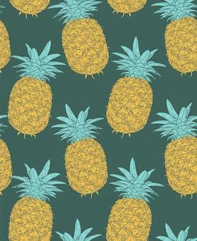 Hand gezeichnete skizze der ananas. nahtloses muster.