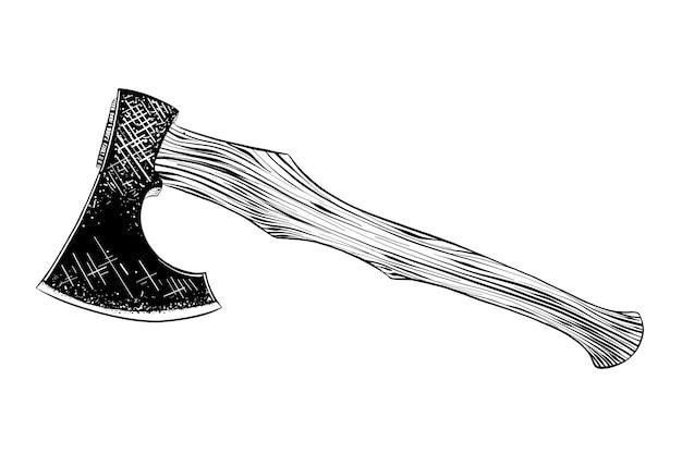 Hand gezeichnete skizze der axt im schwarzen