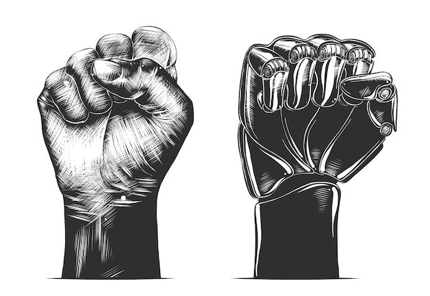 Hand gezeichnete skizze der faustgeste des menschen und des roboters