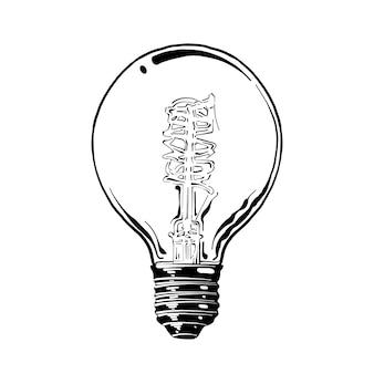 Hand gezeichnete skizze der glühlampe im schwarzen