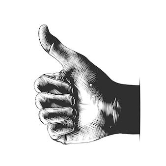 Hand gezeichnete skizze der hand mögen im monochrom