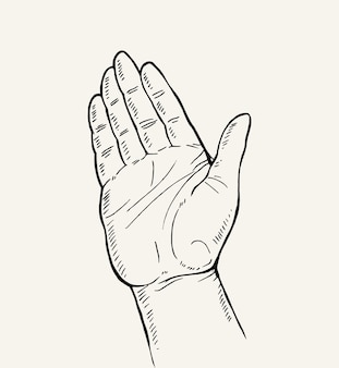 Hand gezeichnete skizze der handbewegung