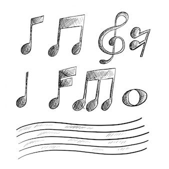 Hand gezeichnete skizze der musikanmerkung