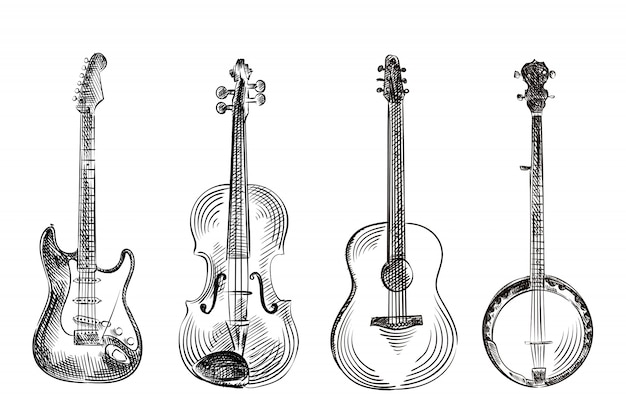 Hand gezeichnete skizze der musikinstrumente, illustration