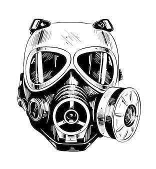 Hand gezeichnete skizze der paintballmaske