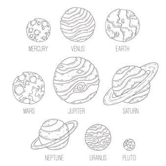 Hand gezeichnete skizze der planetensammlung
