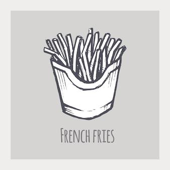 Hand gezeichnete skizze der pommes frites. vorbereitete kartoffelscheiben in der box