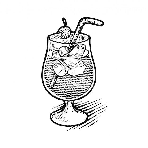 Hand gezeichnete skizze des alkoholcocktails