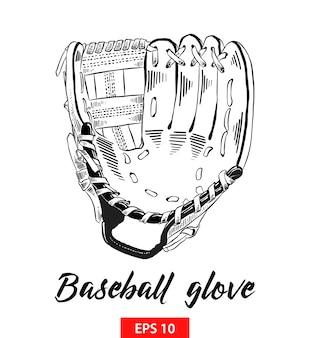 Hand gezeichnete skizze des baseballhandschuhs im schwarzen