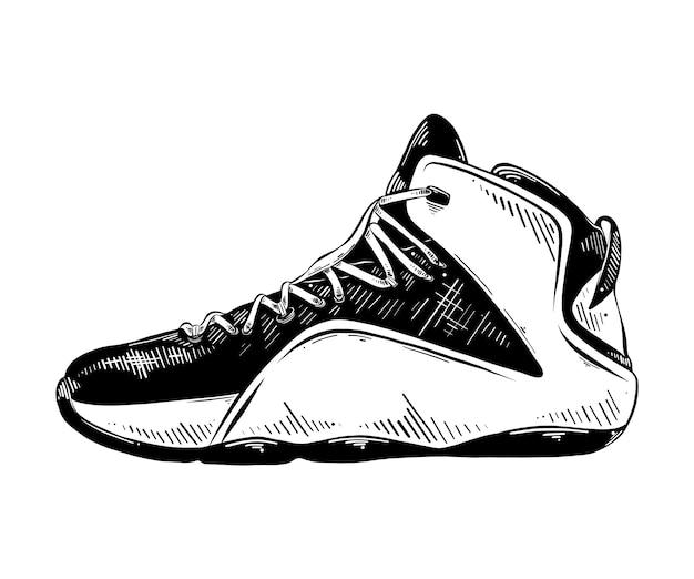 Hand gezeichnete skizze des basketball-turnschuhs im schwarzen