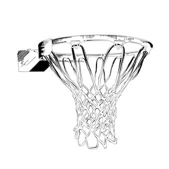 Hand gezeichnete skizze des basketballrings im schwarzen