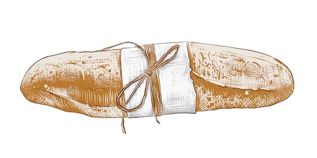 Hand gezeichnete skizze des bunten französischen stangenbrots